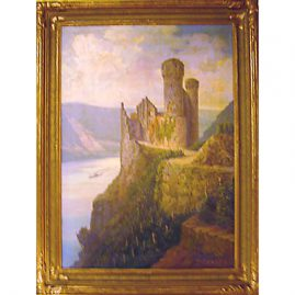 "Oil on board of castle along the Rhine River, signed Fritz Arnold, without frame-22""by 31"", framed- 27"" by 36"", Sold"