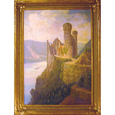 Oil on board of castle along the Rhine River, signed Fritz Arnold