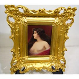 Hutchenreuther porcelain plaque of scantily dressed beautiful lady in gilt frame artist signed Berk, late 19th century, framed-14 1/2 inches by 12 inches, Unframed 4 1/2 inches by 6 3/4 inches, Sold