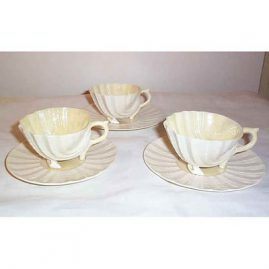 3 Belleek shell foot cups and saucers, 2 Black Mark, 1927-41, Sold, one 1946-55, $195.00