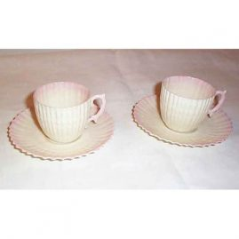 Black Mark Belleek demitasse cups and saucers, ca-1927-41, coral motif, Sold