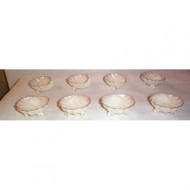 8 Black Mark Belleek salts with shell feet