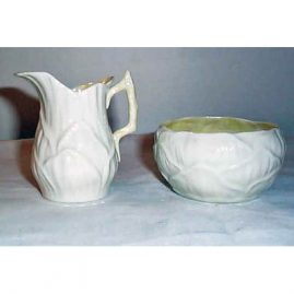 Belleek sugar and creamer, ca-1946-55