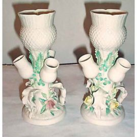 Pair of Belleek vases of unusual form