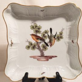 Meissen bowl painted with birds and bugs. Diagonal measurement-12 3/4 inches, by smallest measurement in center-9 by 9 inches. Circa-1860s-1870s.  Sold.