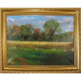 "Painting on canvas of landscape signed by Johann Bjurman,  18"" by 12"" , Providence, Rhode Island, $695.00"