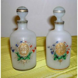 Pair of Bristol perfumes with enamel painting, 6 inches, $195.00