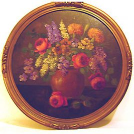 "Painting of flower bouquet by H. L. Sanger, diameter- 17 1/4"", Sold"