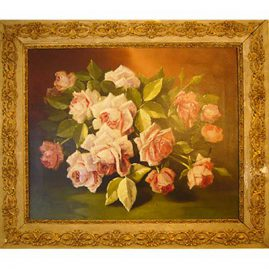 Still life of roses signed by J. C. Spencer, American ca-1862-1919