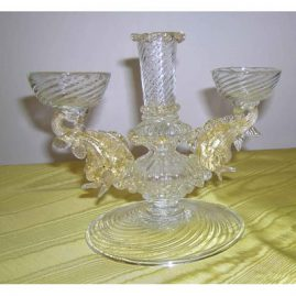 "Venetian candlelabra and vase centerpiece with dolphins, 8 1/2"" wide by 7"" tall, Price on Request."