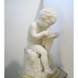Marble Sculpture of little boy writing in book signing Canova for Antonio Canova, 17 1/4 inches tall by 8 1/2 inches wide. Sold
