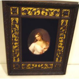 Porcelain plaque in beautiful carved wood frame, 12 3/4 inches by 11 inches, late 19th century, Price on Request