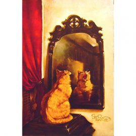 "Painting of cat looking in the mirror yawning, dated 1984, signed with  monogram STRW, !6"" by 24"", Sold"