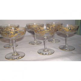 6 gilded champagnes, 4 1/4 inches, set is sold