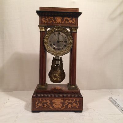 French Marquetry inlaid empire clock, late 19th century
