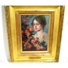 "Oil on board of American Beauties titled American Beauties by Frederick James Boston, 1855-1932, oil on board, with frame-15"" by 18"", without frame--8"" by 11 1/2 inches, Sold"
