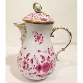 Meissen purple Indian coffee pot with rose on top. Sold.