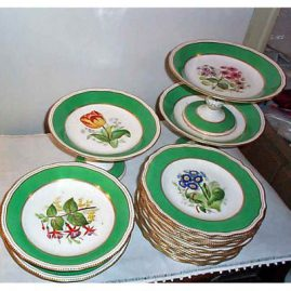 Copeland dessert set, 12 plates, 5 compotes, 1879, each painted differently, $4500.00