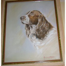 "Pastel of springer spaniel signed Charles A. Phelps,  19 1/2"" by 16"", $995.00"