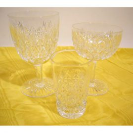 36 piece Webb cut crystal stemware set signed Webb, 12 goblets, 12 champagnes, 12 aperitifs, all with cut stems, Sold