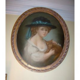 "Pastel of girl with cat signed Drouet, unframed-19""by 23"", framed 22 1/2"" by 27"", 19th century, $ 1800.00"