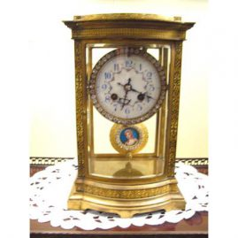 "Rare enamel French Marti beveled glass clock with enamel portrait pendulum, works great, 11 "" tall by 7 1/2 "" wide, Sold"