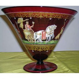 Ruby glass ceterpiece with enamel paintings on both sides