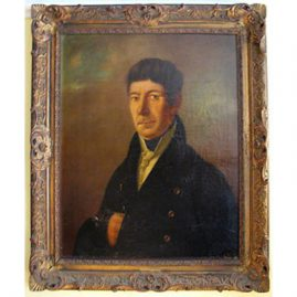 "Portrait of gentleman, first half of the 19th century, framed- 33"" by 28"", unframed-21"" by 27"", around 1830s-1840s, Sold"