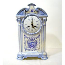 "French faience Vincenti clock, face marked Lepine Parie place des Victoires, marked Gien on back of clock, works signed Medaille D'Argent Vincenti, Ht-15 1/4"", depth 5 1/2 "", Sold"