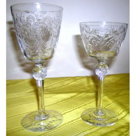 "Set of Hawkes crystal stemware, 4 water goblets-8"" and 7 wine goblets-7"", Sold"