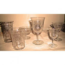 "Hawkes crystal stemware set, 2 sets of 6 tumblers -5 & 4 inches, 6 wines-6"", 11 cordials-4"", 10 cordials-3 1/2"", 5 sherbets, 5 inch tumblers,all sold except cordials"
