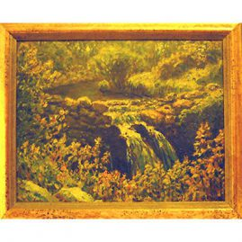 "Painting of waterfall signed by G. A. Hays, (George Arthur) ca-1854-1934, 1924,  11"" by 14"", Sold"