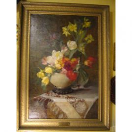 "Oil on canvas of tulips and other flowers in vase attributed to Carl John Blenner, 1864-1952, 30"" by 24"" without frame; with frame-36"" by 25 1/2"", label on painting says Carl John Blenner, 1864-1952, Sold"