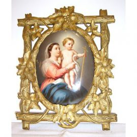 KPM plaque in Black Forest frame of Madonna and Child, $5500.00
