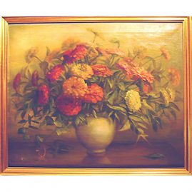 "Still life of flowers in vase, signed by Virginia Maxwell, 22"" by 26"", $1200.00"