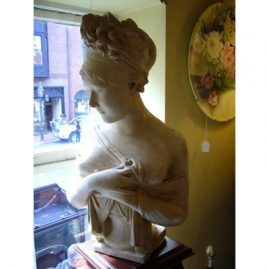 Antique composition bust of Madame Racamier,  23 inches tall by 12 3/4 inches wide. Sold