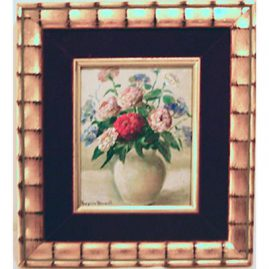 "Painting of roses by  Virginia Maxwell, 3 1/2""  by 4 1/2"", Sold"