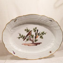 Rare large Meissen platter painted with birds and bugs. Length-19 3/4 inches by 14 3/4 inches tall. Circa-1860s-1870s.  Sold.