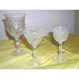 More signed Webb crystal, 12 goblets, wine or waters, 12 ports, 12 cordials. Sold.