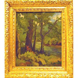 "Painting by the river signed P. Law, (Pauline), American, !0"" by 12"", Sold"