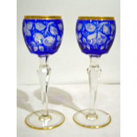 Set of 10 tall cut overlay wine goblets cut with cherries and pears