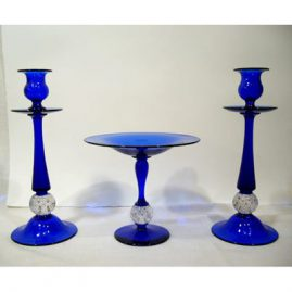 "3 piece Pairpoint cobalt set with glass bubbles. Candlesticks-1 foot tall, compote- 7"" tall, 8"" wide-Sold"
