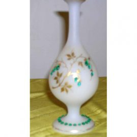 Unusual vase with raised green jewels, 7 1/2 inches tall, Sold