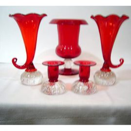 Collection of red Pairpoint glass