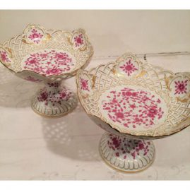 Pair of Meissen purple Indian reticulated compotes