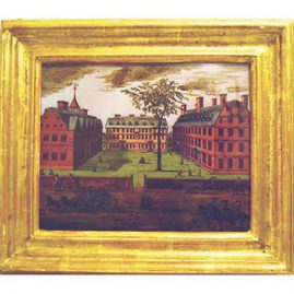 Reverse painting on glass of Harvard, copperplate by William Burgess, original print in Library of Congress