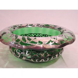 Rare large sterling silver overlay crystal emerald bowl. Diameter- 13 1/4 inches by 4 1/2 inches tall. Sold