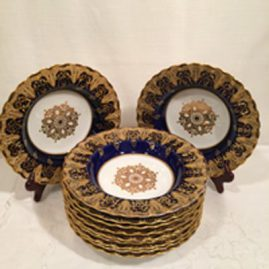 Set of Spode Copeland cobalt and gold wide rim soup bowls with raised gold and white enamel jeweling, 9 1/4 inches, Price on Request