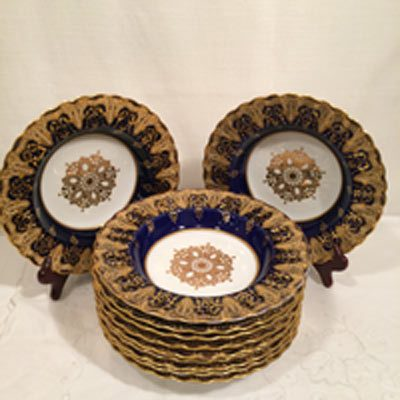 Set of Spode Copeland cobalt and gold wide rim soup bowls with raised gold and white enamel jeweling
