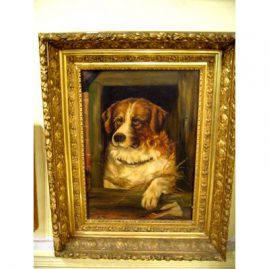 Oil on canvas of St. Bernard puppy, in a fabulous Victorian gilt frame